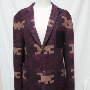 Topman Men Southwest Aztec Blanket Blazer Coat 44
